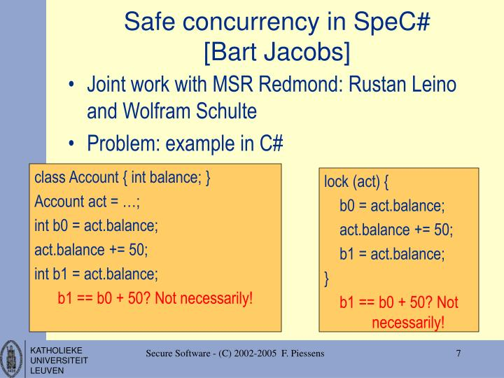 Safe concurrency in SpeC#