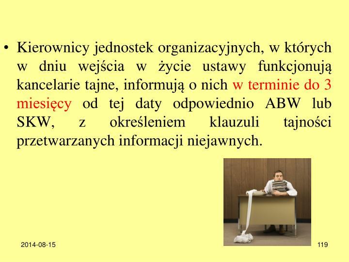 Kierownicy jednostek organizacyjnych, w których w dniu wejścia w życie ustawy funkcjonują kancelarie tajne, informują o nich