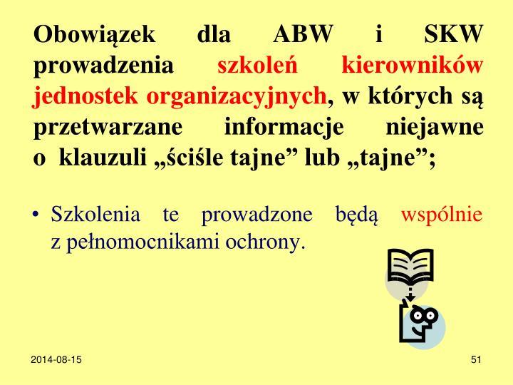 Obowizek dla ABW i SKW prowadzenia