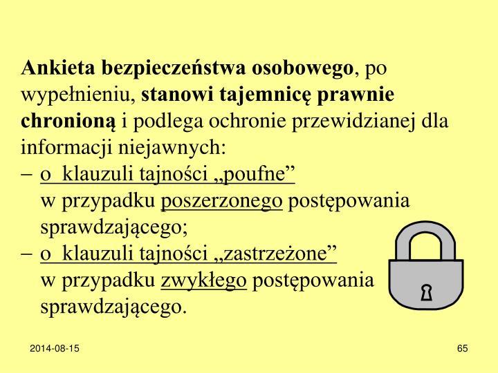 Ankieta bezpieczestwa osobowego
