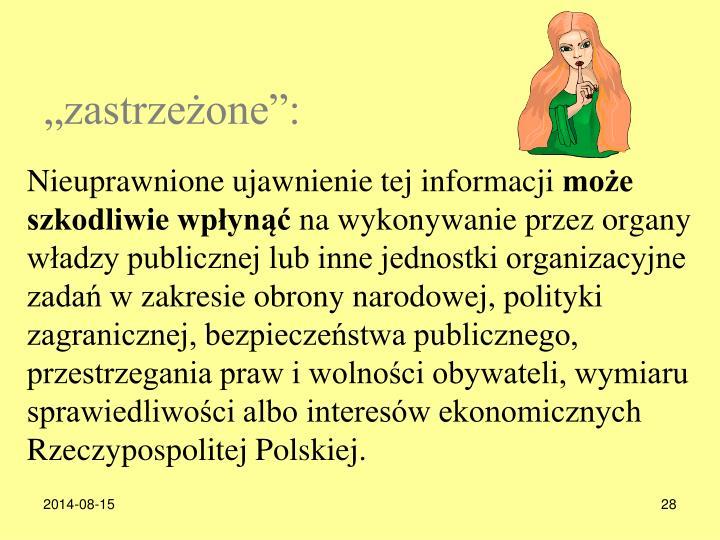 zastrzeone: