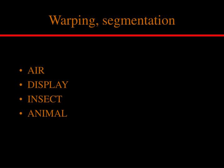 Warping, segmentation
