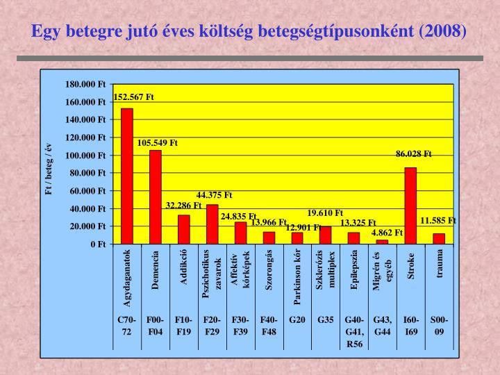Egy betegre jutó éves költség betegségtípusonként (2008)