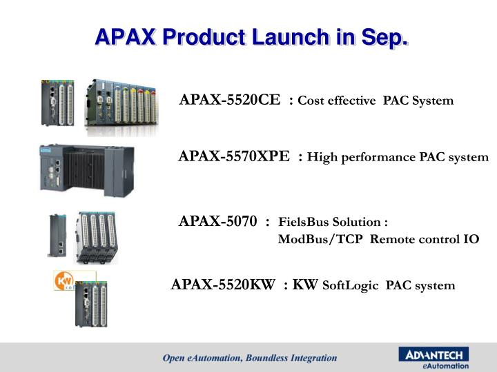 APAX Product Launch in Sep.