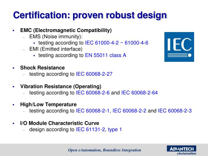 Certification: proven robust design