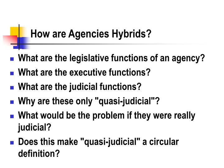 How are Agencies Hybrids?