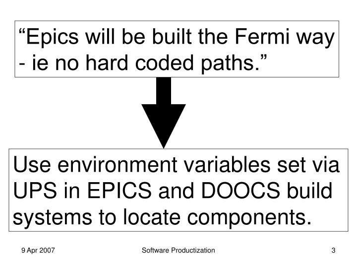 """Epics will be built the Fermi way"
