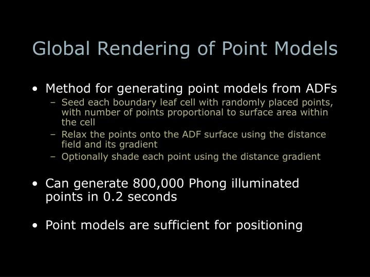 Global Rendering of Point Models