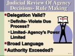 judicial review of agency decisions rule making