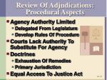 review of adjudications procedural aspects