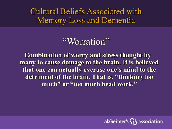 Cultural Beliefs Associated with Memory Loss and Dementia