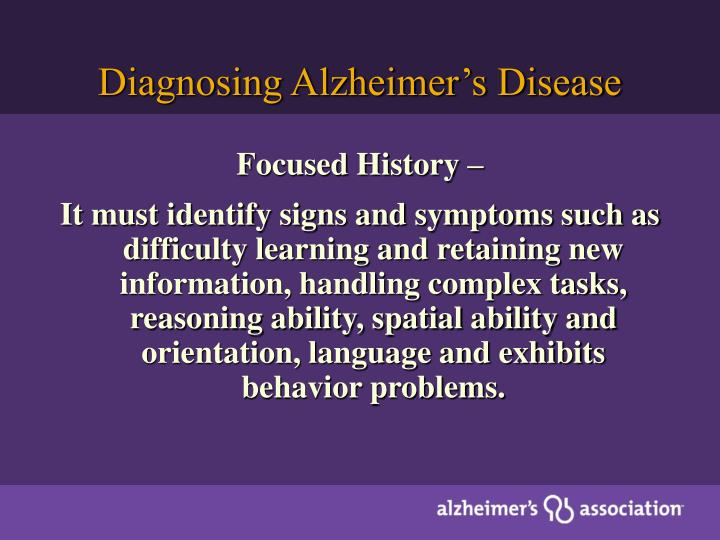 Diagnosing Alzheimer's Disease