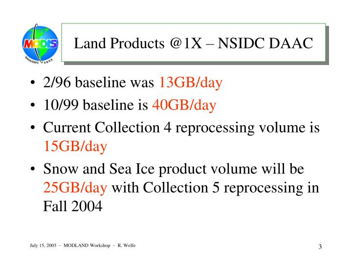 Land Products @1X – NSIDC DAAC