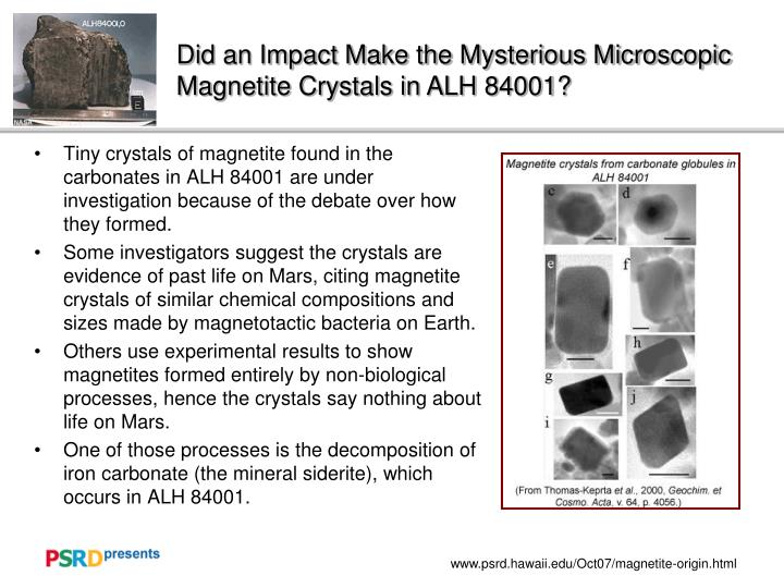 Did an Impact Make the Mysterious Microscopic Magnetite Crystals in ALH 84001?