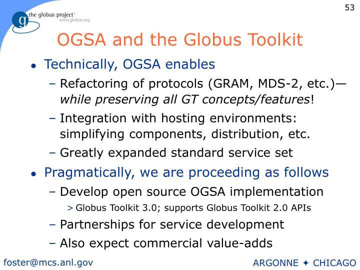 OGSA and the Globus Toolkit