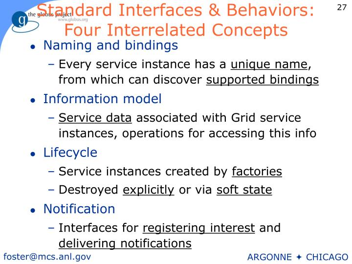 Standard Interfaces & Behaviors: