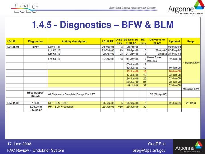 1.4.5 - Diagnostics – BFW & BLM