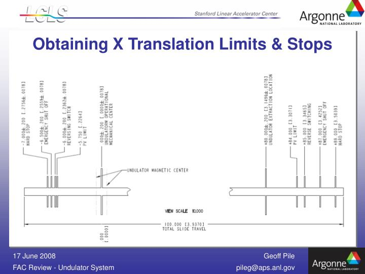Obtaining X Translation Limits & Stops