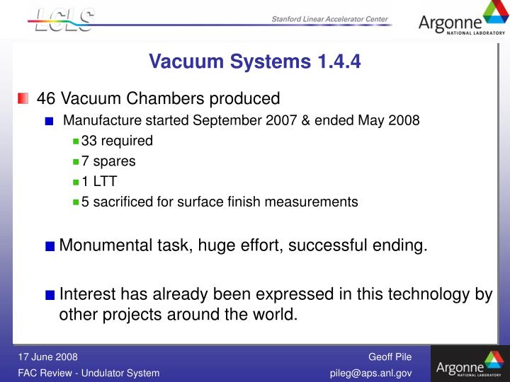 Vacuum Systems 1.4.4