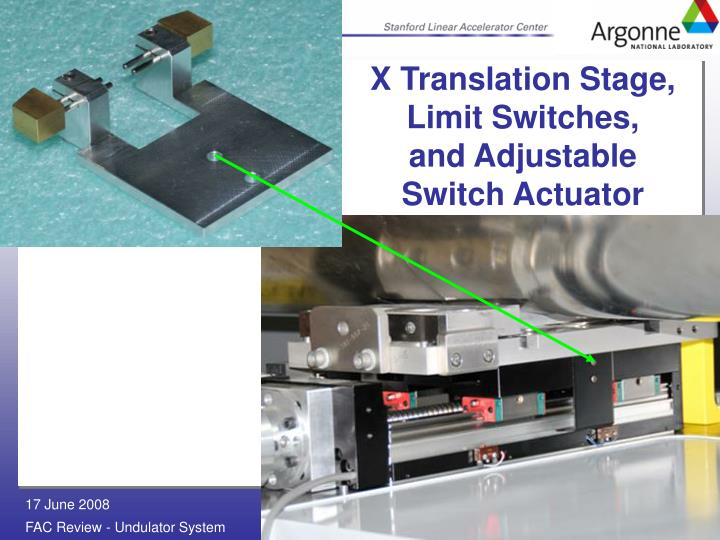 X Translation Stage, Limit Switches,