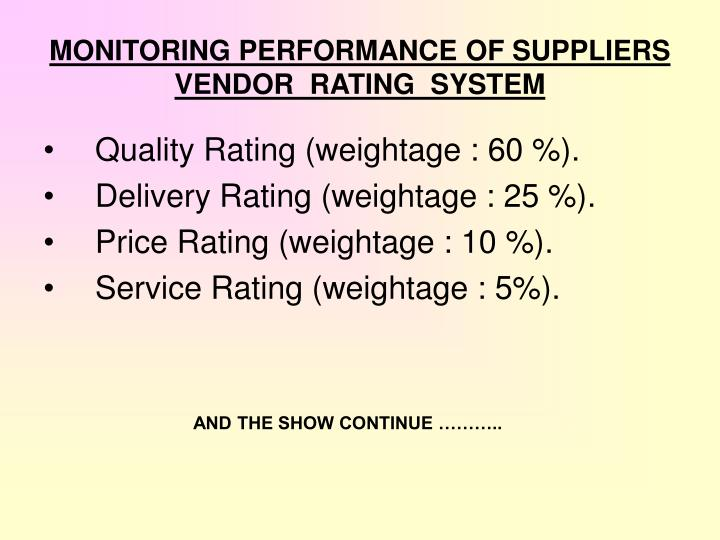 MONITORING PERFORMANCE OF SUPPLIERS