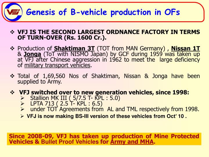 VFJ IS THE SECOND LARGEST ORDNANCE FACTORY IN TERMS OF TURN-OVER (Rs. 1600 Cr.).