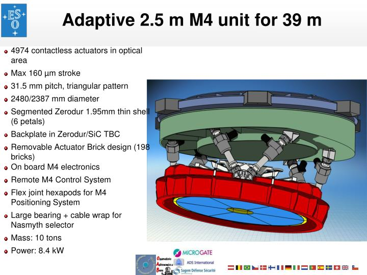 Adaptive 2.5 m M4 unit for 39 m