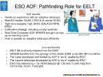 eso aof pathfinding role for eelt
