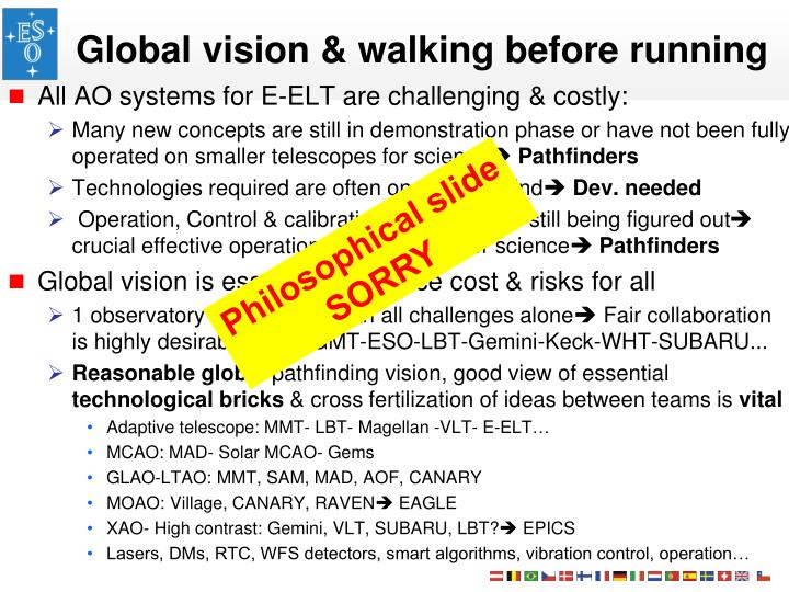 Global vision & walking before running