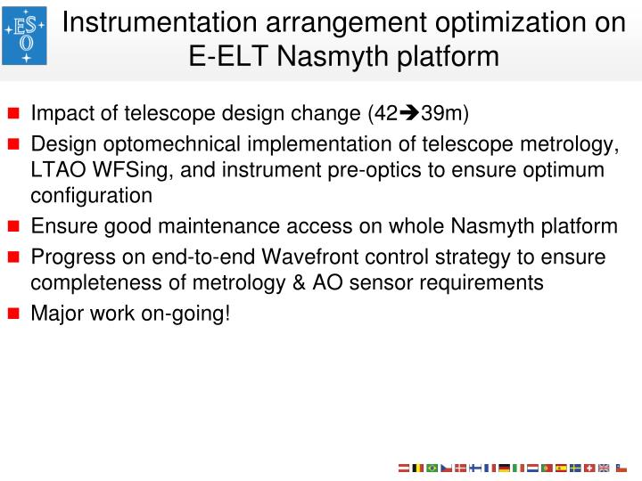 Instrumentation arrangement optimization on E-ELT Nasmyth platform