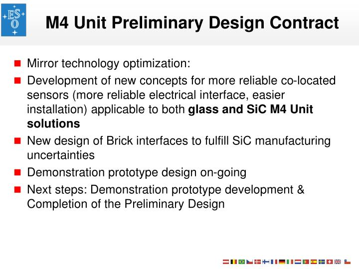 M4 Unit Preliminary Design Contract