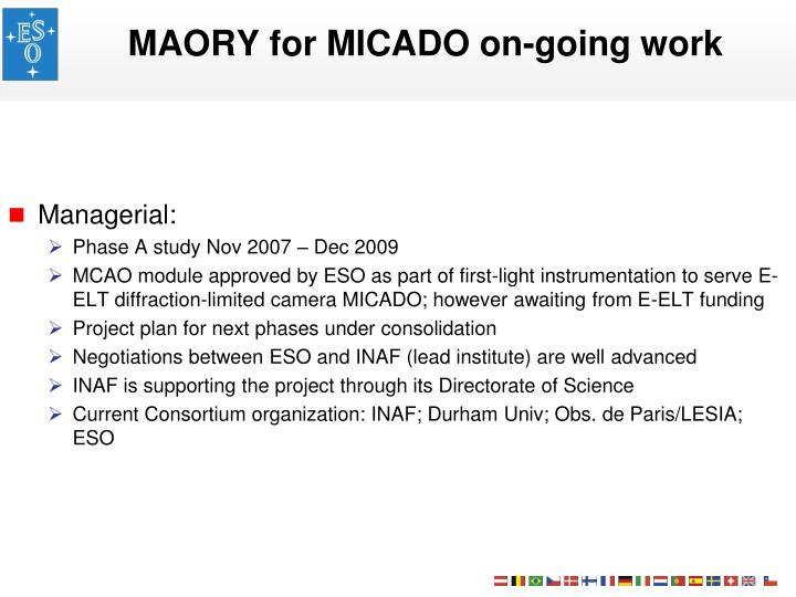 MAORY for MICADO on-going work