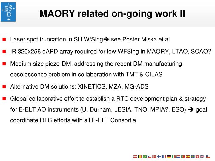 MAORY related on-going work II