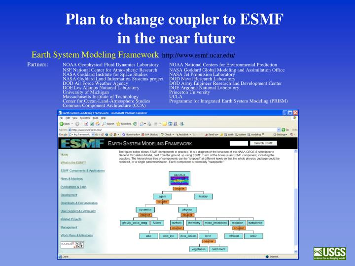 Plan to change coupler to ESMF