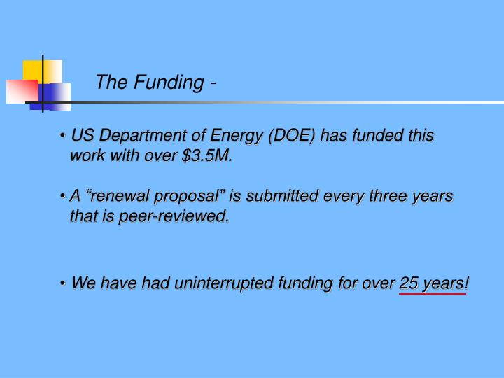 We have had uninterrupted funding for over 25 years!