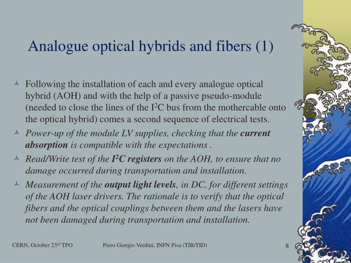 Analogue optical hybrids and fibers (1)