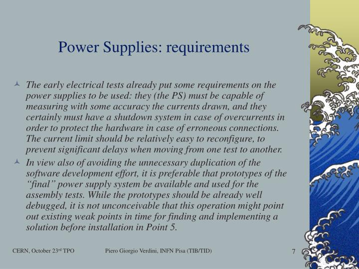 Power Supplies: requirements