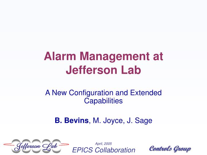 Alarm management at jefferson lab