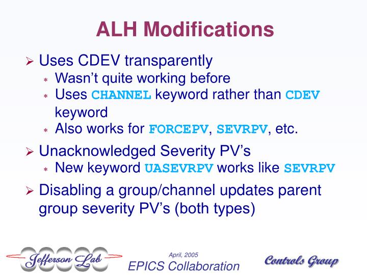 ALH Modifications
