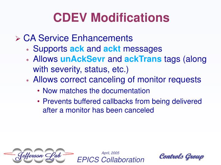 CDEV Modifications