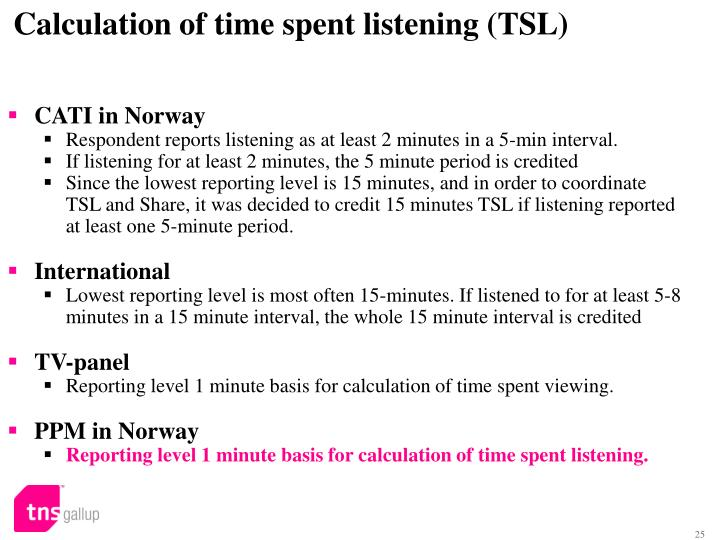 Calculation of time spent listening (TSL)