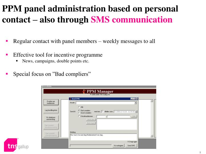 PPM panel administration based on personal contact – also through