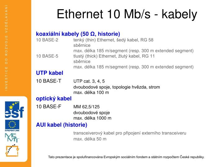 Ethernet 10 Mb/s - kabely