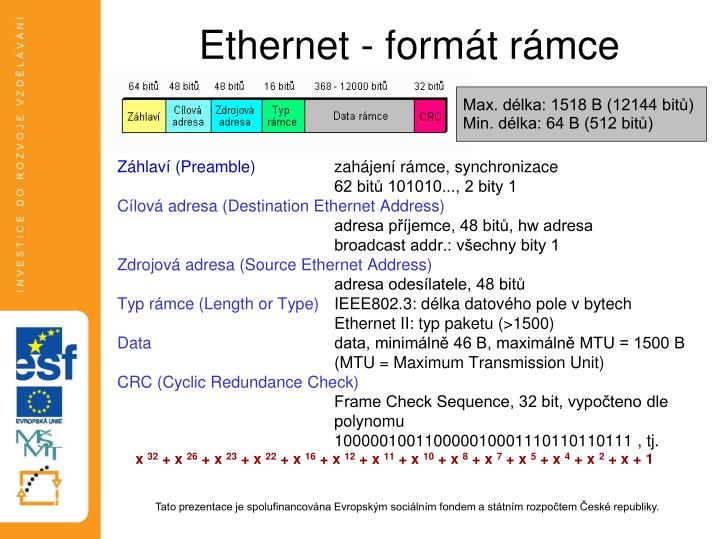 Ethernet - formát rámce