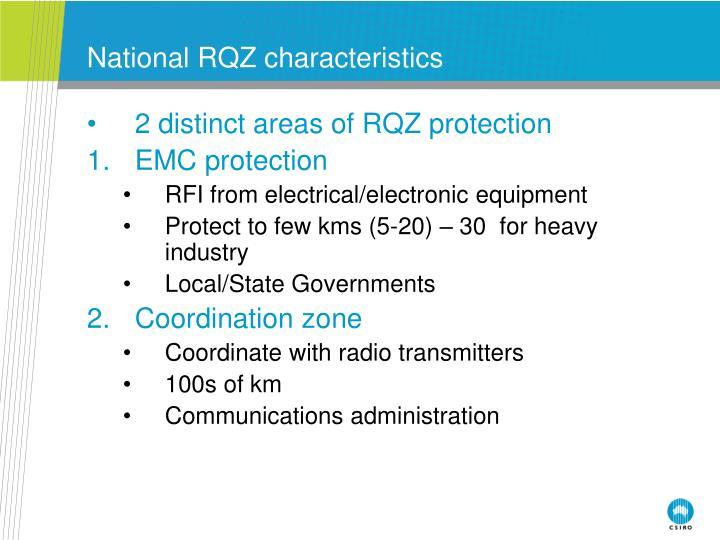 National RQZ characteristics