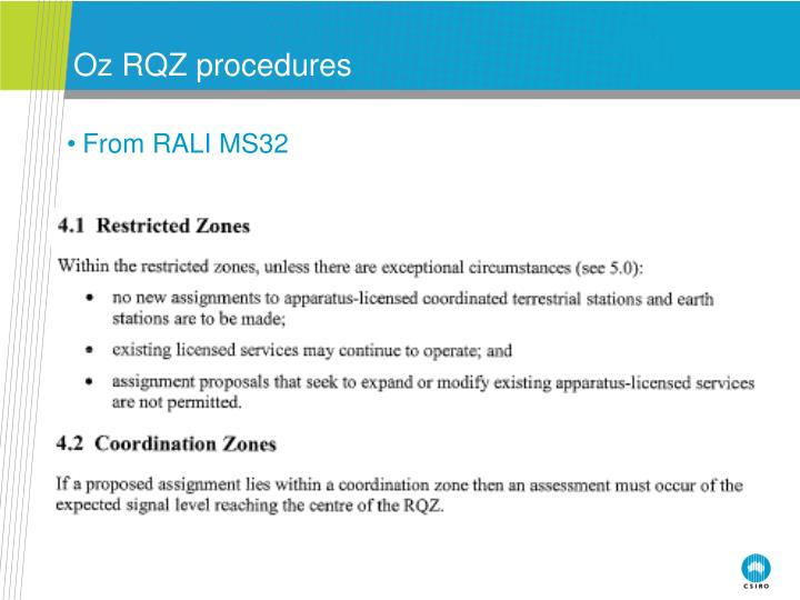 Oz RQZ procedures
