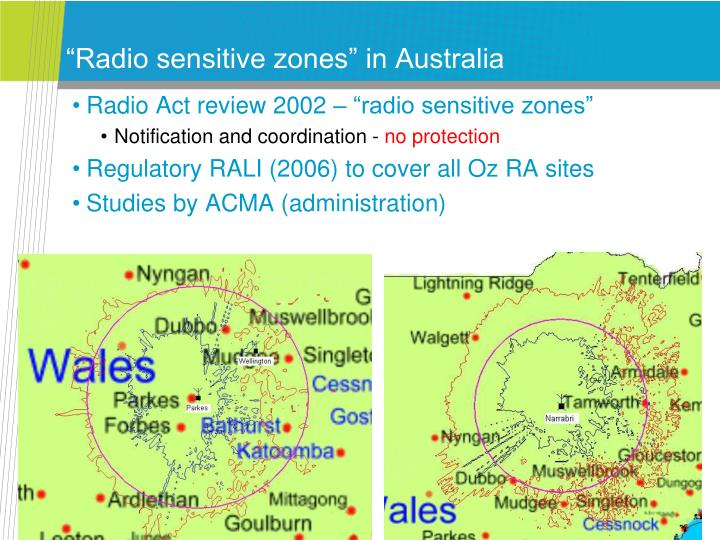 """Radio sensitive zones"" in Australia"