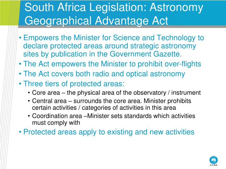 South Africa Legislation: Astronomy Geographical Advantage Act