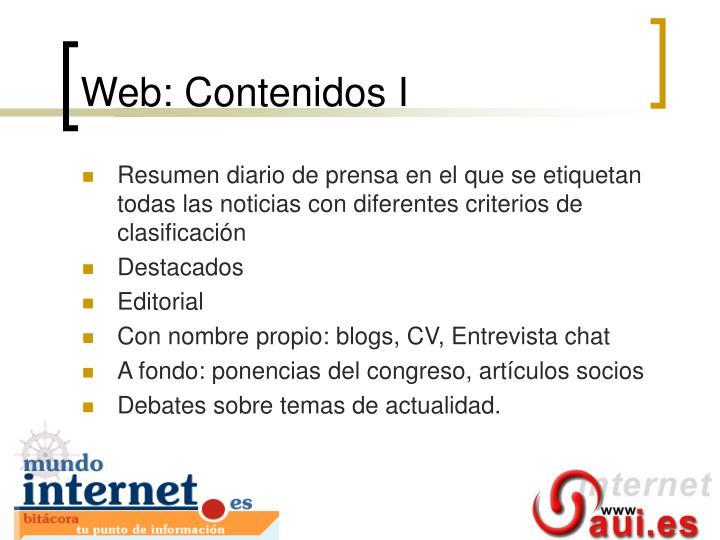 Web: Contenidos I