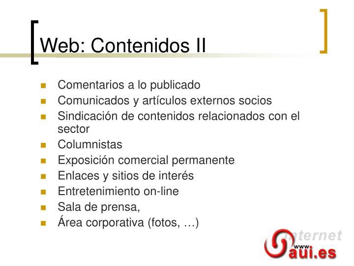Web: Contenidos II